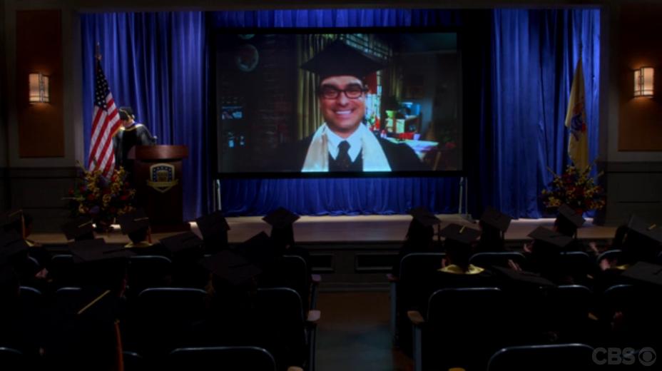 Leonard hält kurzerhand die Rede via Skype