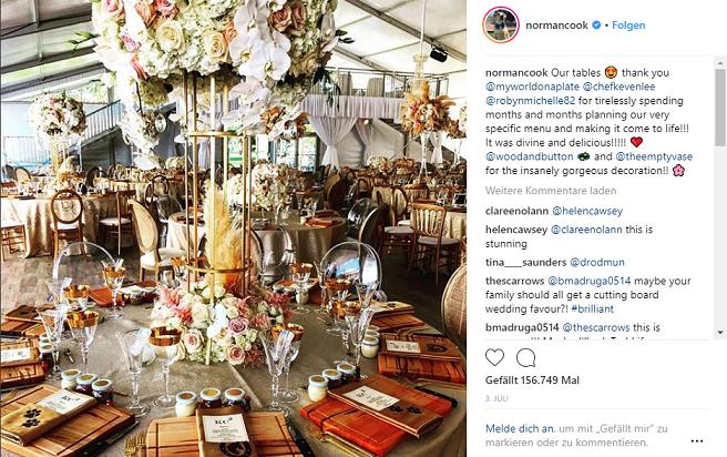 Tische bei der Hochzeitsfeier von Kaley Cuoco