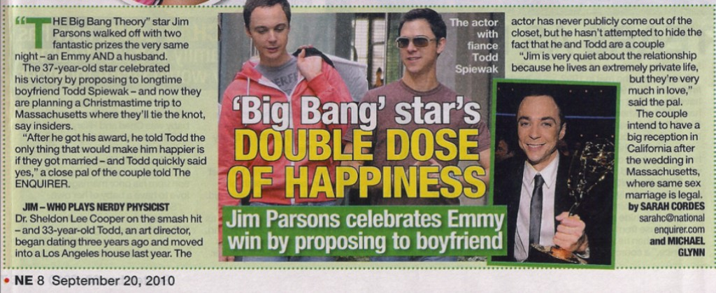 Jim Parsons outete sich als homosexuell (schwul)