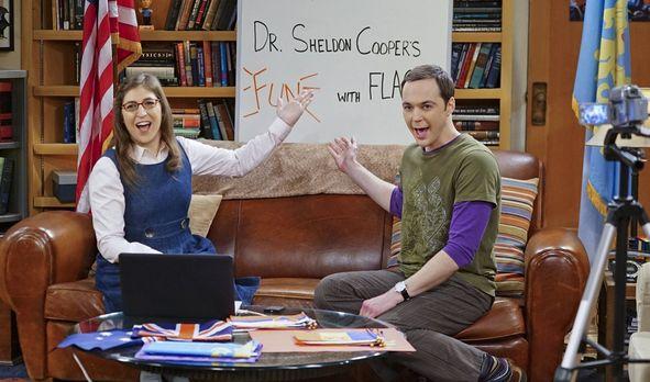 Amy und Sheldon drehen eine neue Ausgabe von Fun with Flags