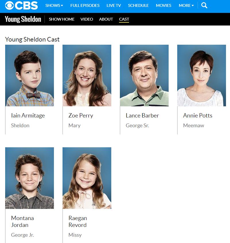 Schauspieler der Serie Young Sheldon